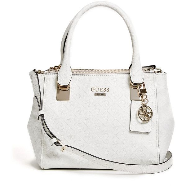 GUESS Shantal Quattro G Status Satchel (155 CAD) ❤ liked on Polyvore featuring bags, handbags, bone, white satchel handbags, guess bags, satchel handbags, white satchel bag and satchel hand bags