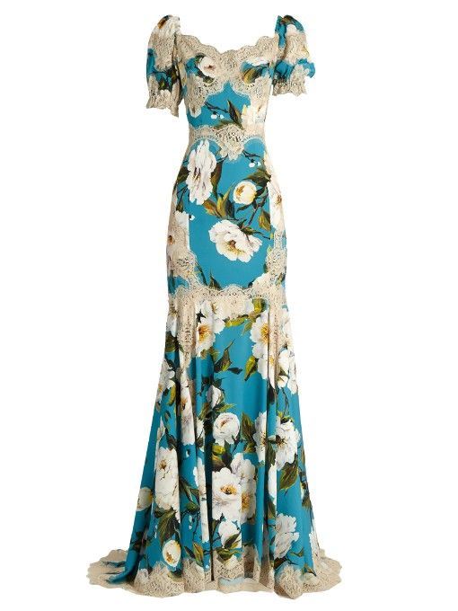 Lace-trimmed tulip-print silk-blend gown Dolce & Gabbana k0QY0Y
