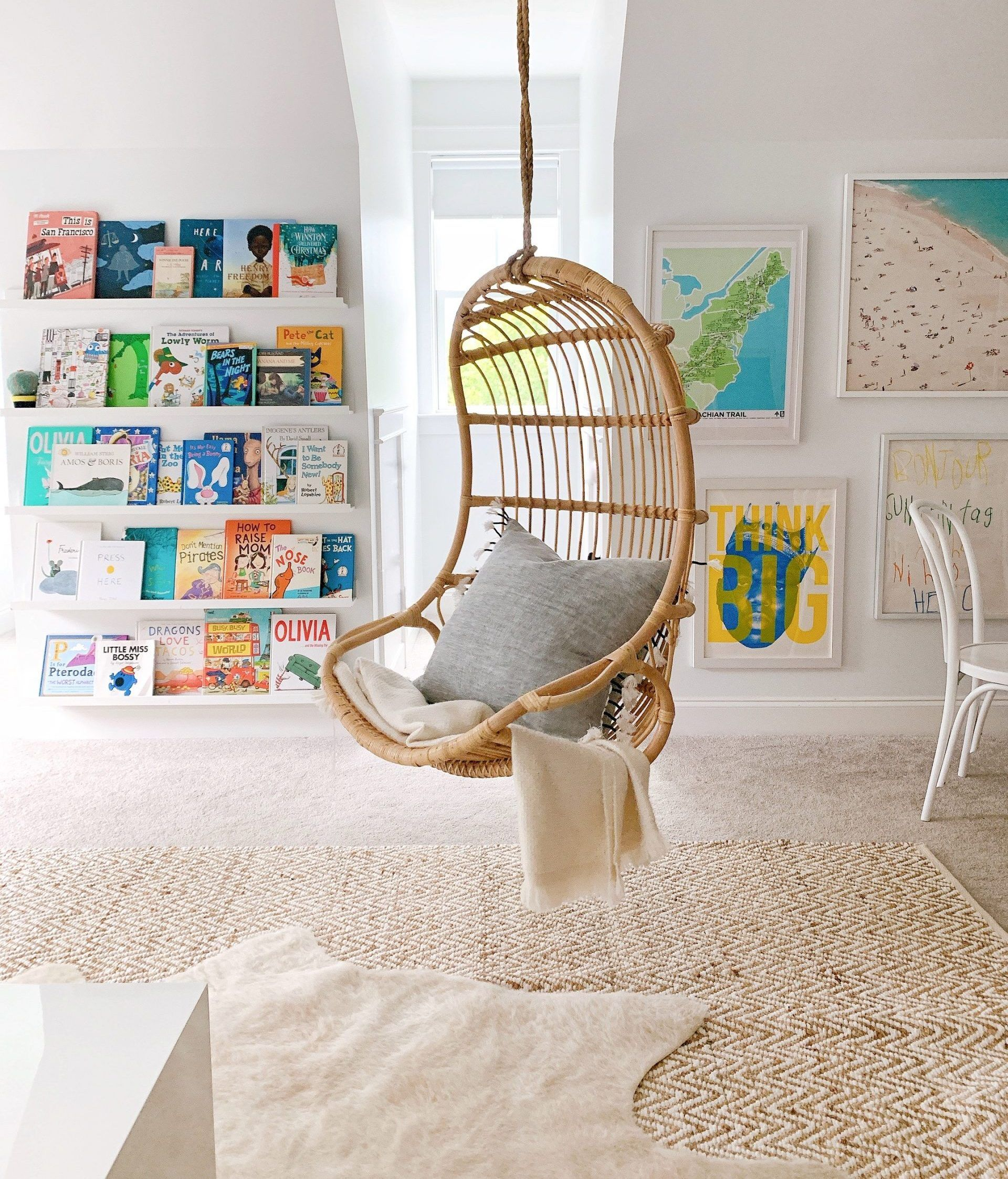 Rattan Chairs In Our Playroom In 2020 Hanging Rattan Chair Hanging Chair Indoor Hanging Rattan