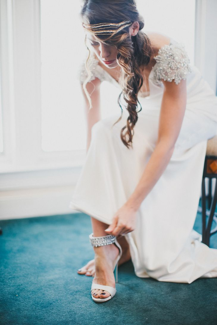 Silver Wedding Shoes With Jeweled Strap