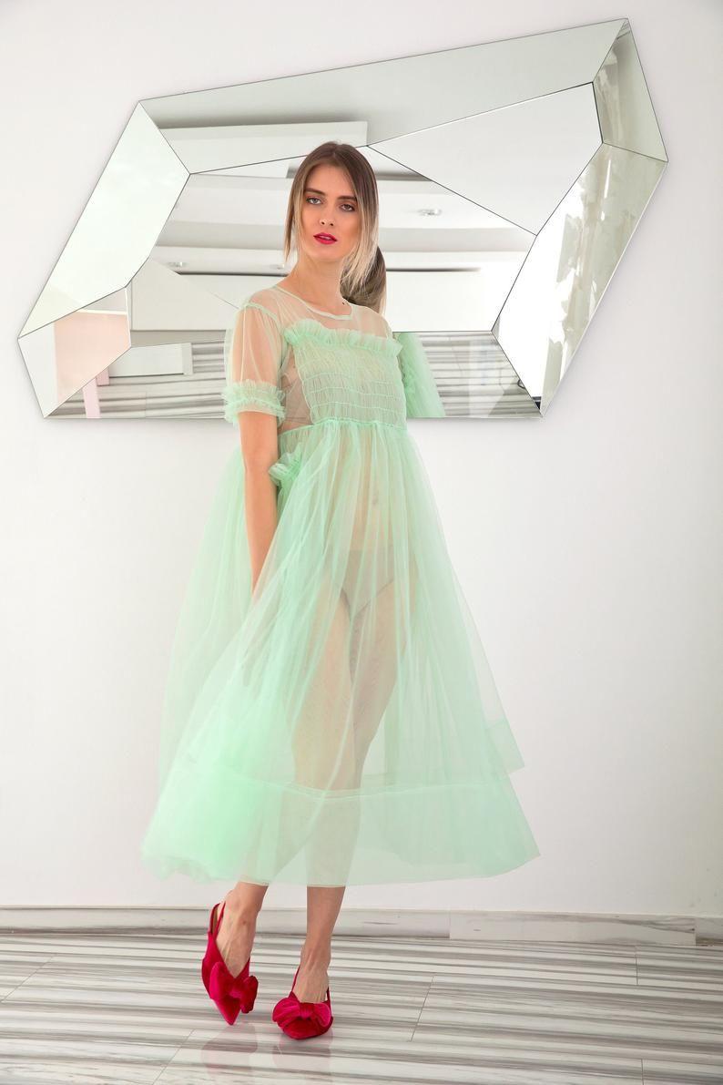 Mint Tulle Dress Villanelle Dress Sheer Dress Puff Dress Party Dress See Through Dress Avant Garde Clothing Plus Size Dress Loose Tulle Dress Sheer Dress Dresses [ 1191 x 794 Pixel ]