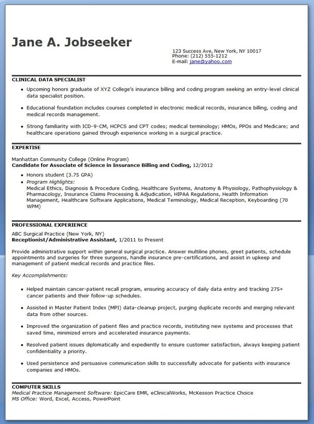 Clinical Data Specialist Resume Sample Sample Resume For