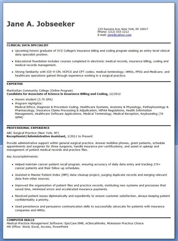Clinical Data Specialist Resume Sample Resume Downloads Cover Letter For Resume Resume Job Info