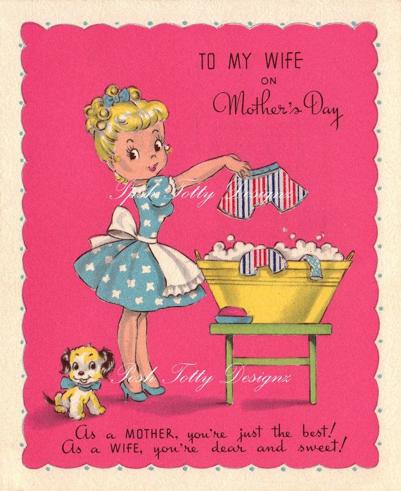 The Perfect Housewife 1940s Vintage Greetings Card Digital