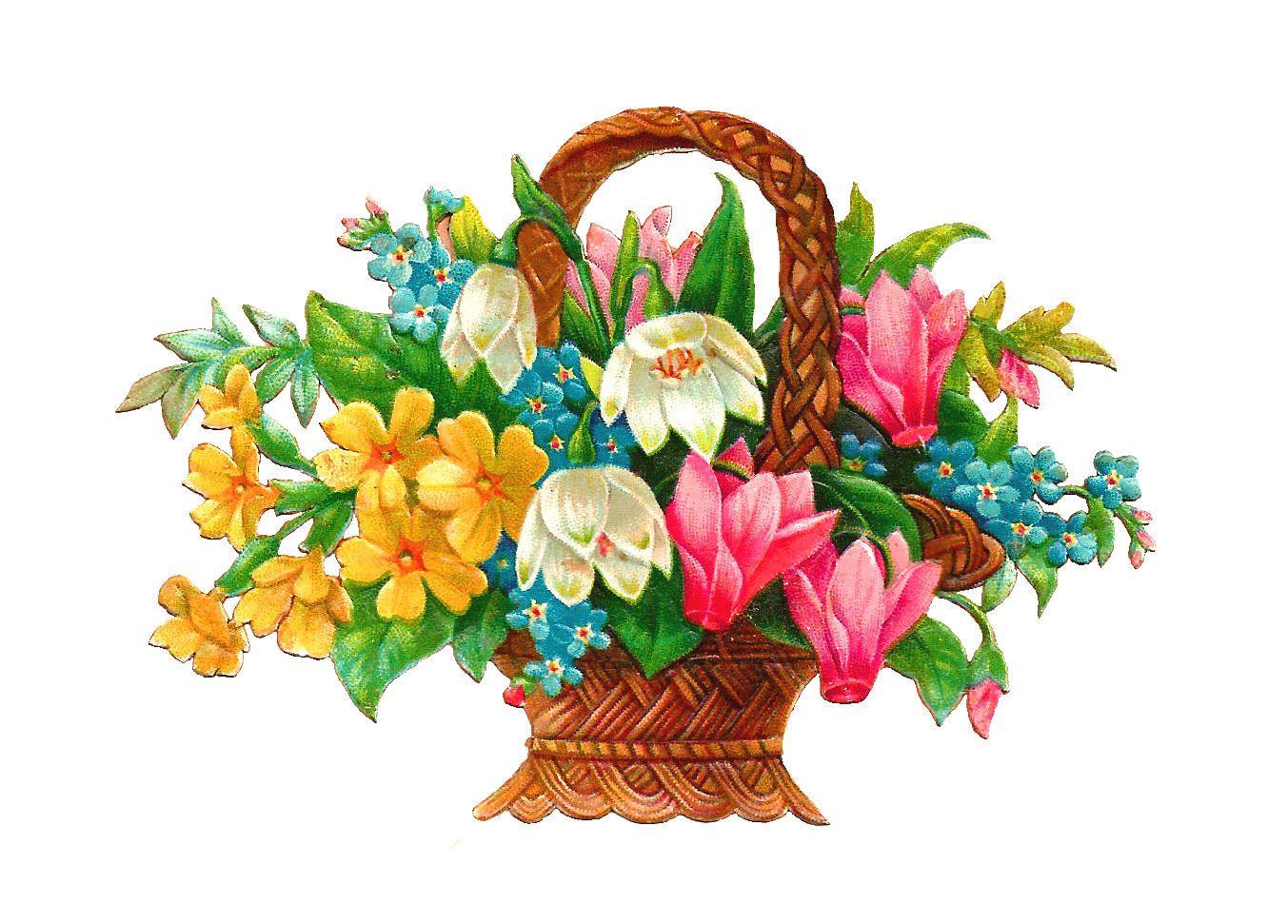antique images free flower basket clip art 2 wicket baskets full rh pinterest ca vintage flower clipart transparent vintage flower clipart transparent