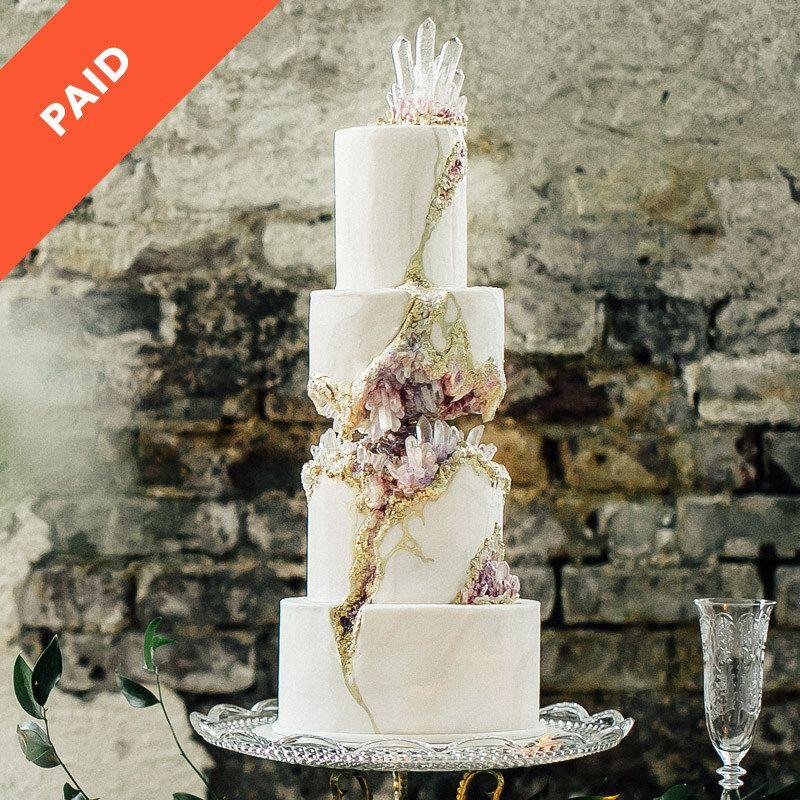 Kintsugi Crystal Geode Wedding Cake Kintsugi Sugar Crystals And - Geode Wedding Cake