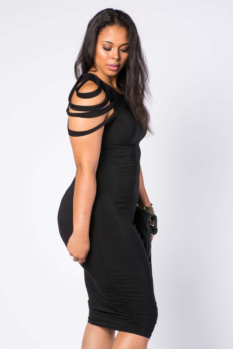shredded sleeve midi dress | ♥ vintageandcurvy plus size