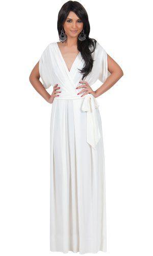 67ed0b1dfff Koh Koh Women s Elegant Designer Batwing Dolman Sleeve Maxi Dress -  XX-Large - Off