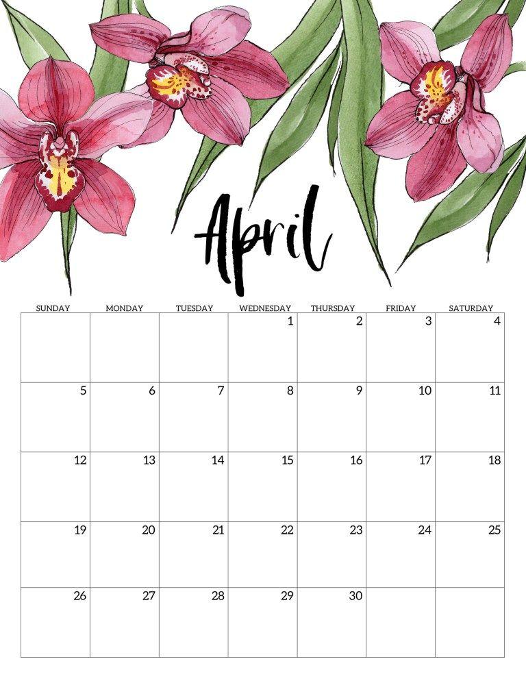 April Printable Calendar 2020.2020 Free Printable Calendar Floral Free Printable