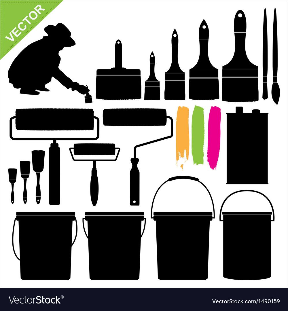 Paint Bucket And Brush Silhouette Royalty Free Vector Image Affiliate Brush Silhouette Paint Buc In 2020 Silhouette Vector Paint Buckets Dinosaur Silhouette