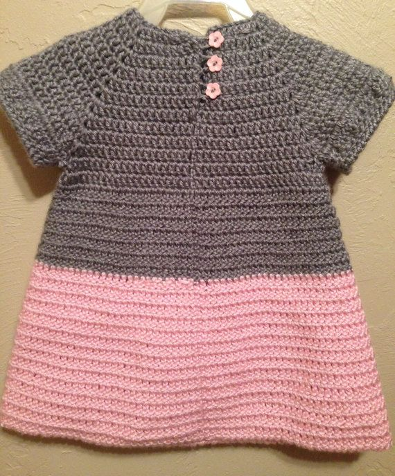 Soft & Beautiful Crocheted Pink and Grey Baby Toddler Dress Heart ...