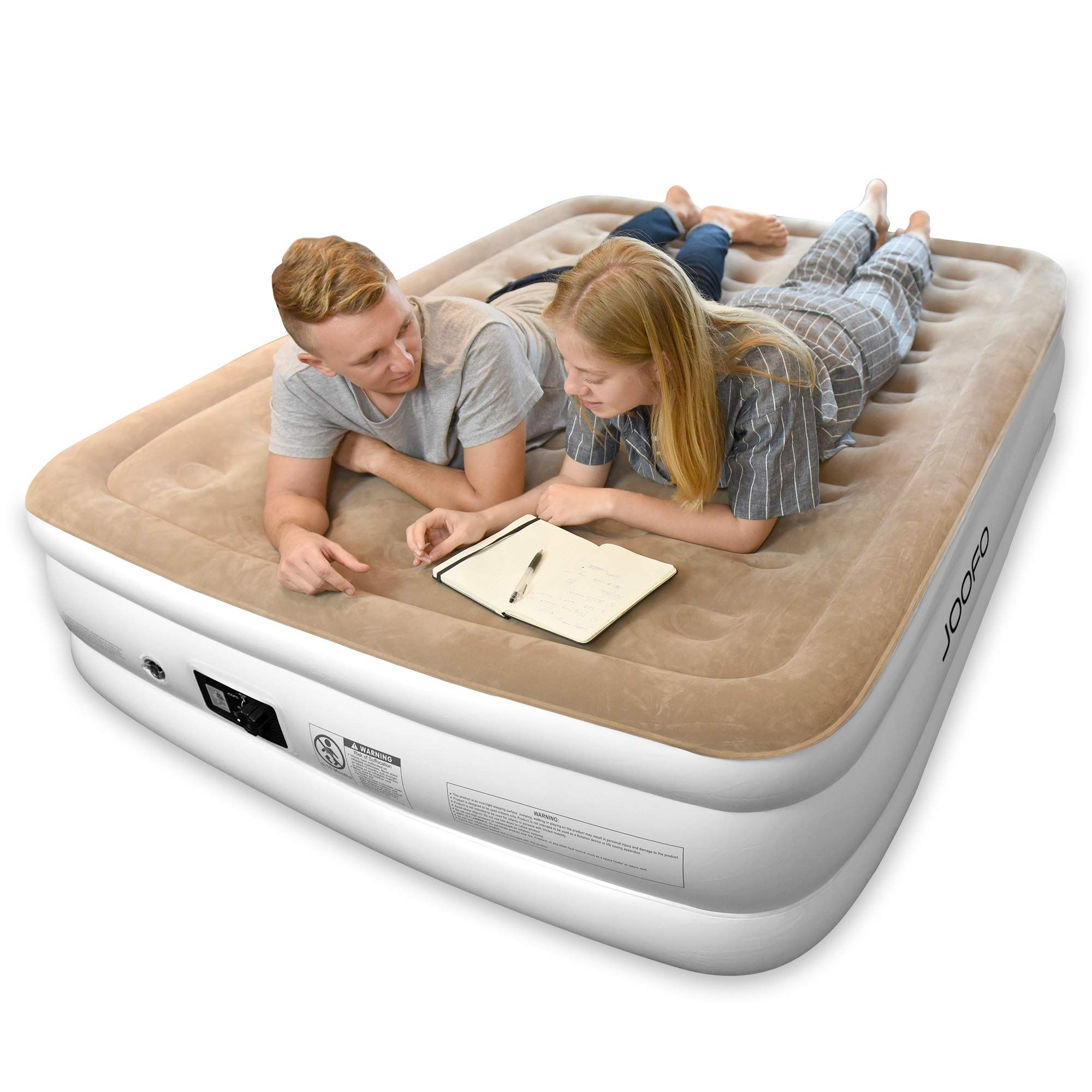 Joofo Air Mattress Queen Breathability And Comfort Double High Raised Inflatable Airbed With Upgraded Built In Pump For Air Mattresses Mattress Queen Mattress