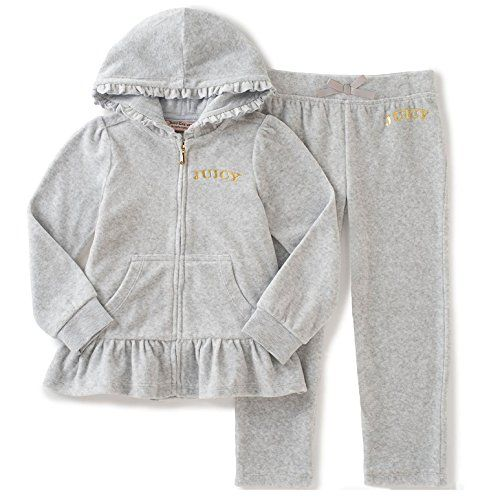 50f8b1140f1d Juicy Couture Little Girls  2 Piece Velour Hooded Jacket and Pant ...