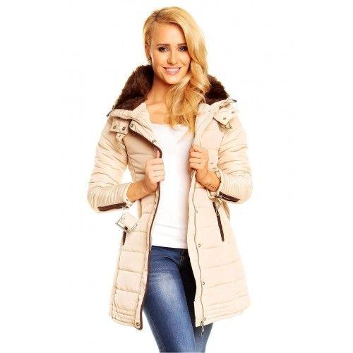 Dámská zimní bunda Gipy – béžová Elegantní prodloužený model bundy je velmi  originální. Prošívaná bunda s kožíškem 923cc08991c