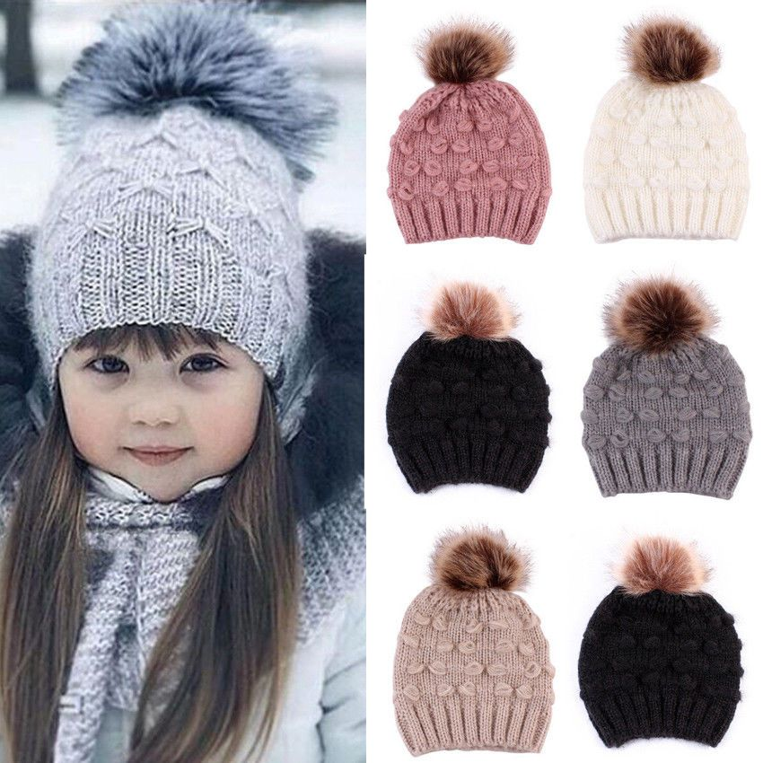 Cute Toddler Baby Girls Winter Hats Infant Warm Crochet Knit Caps Beanie-Hat UK