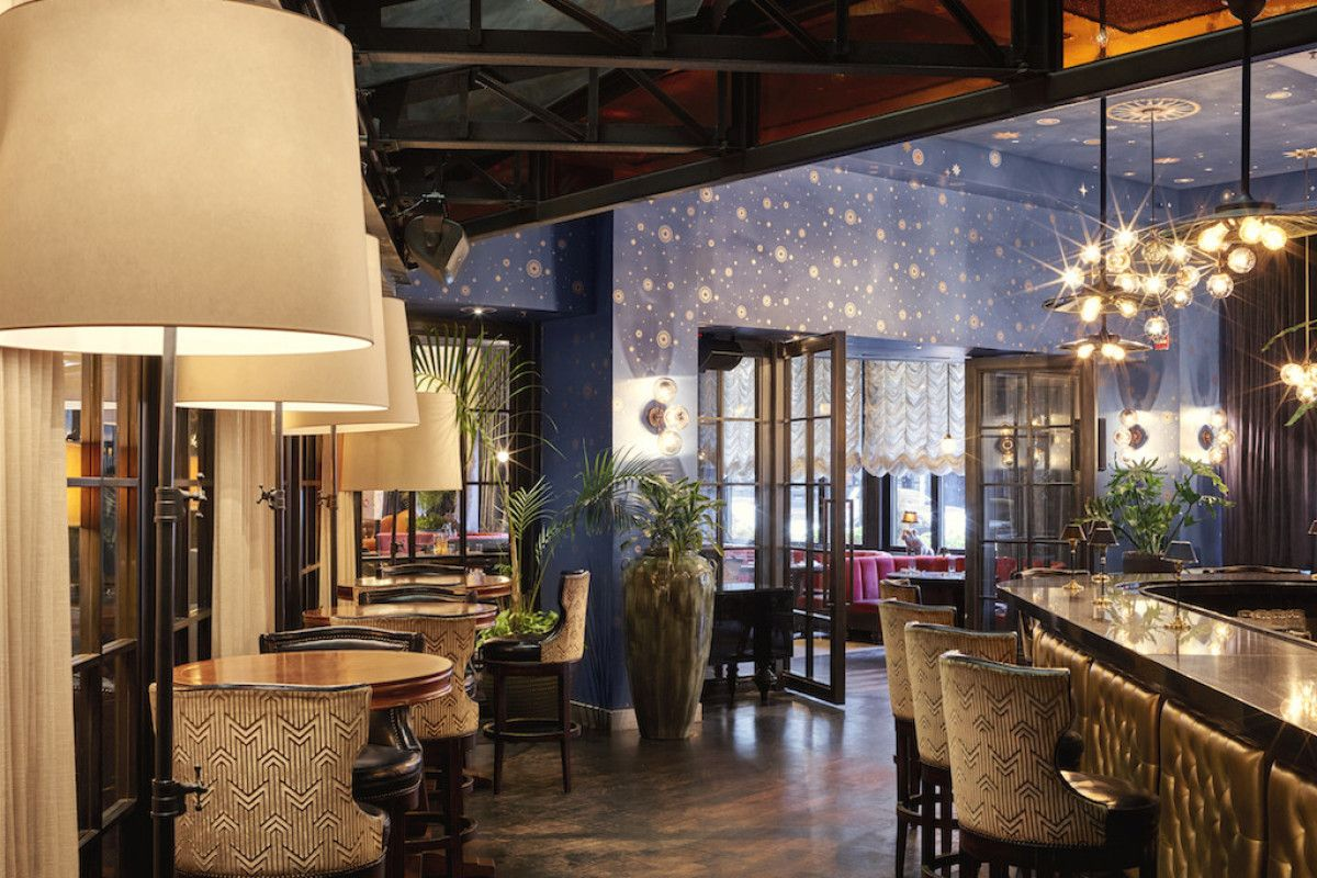 The Roxy Hotel Bar In Tribeca Nyc Uses Stardust Wallpaper From Bradburywallpaper On