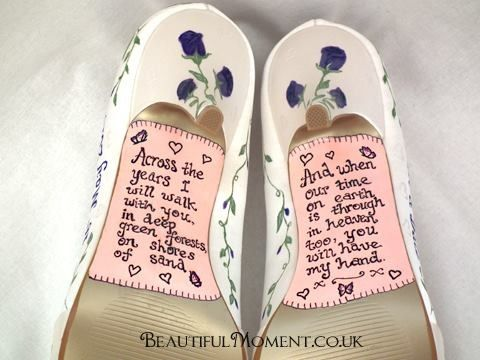 6eafc160f786 Romantic Robert sexton poem hand painted on wedding shoes by Beautiful  Moment Art.