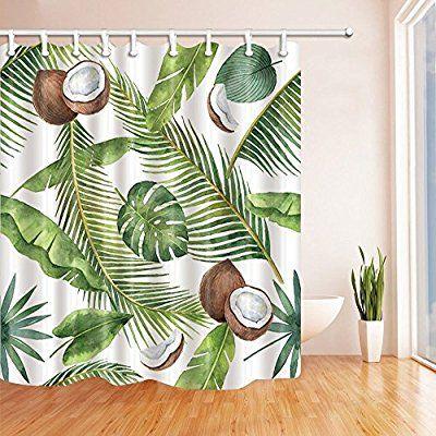 Guoey Aquarell Kokosnuss In Bananenblattern Mit Palmen Duschvorhang