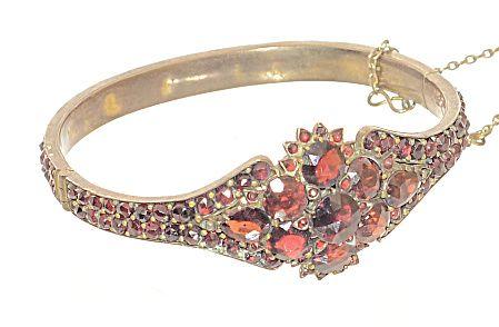 fancy Victorian garnet bangle bracelet