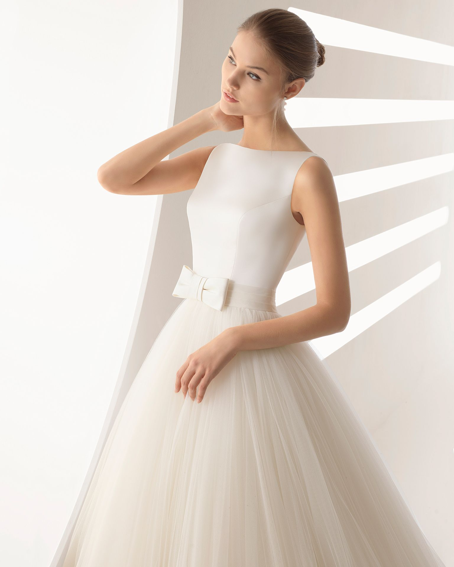 1e7f9beafd1e Princess-style duchess satin and soft tulle wedding dress with bateau  neckline and full skirt