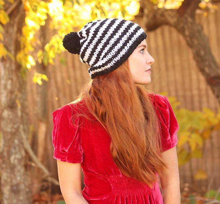 Kate Spade Inspired Chunky Stripe Beanie Knit Hats Knitting