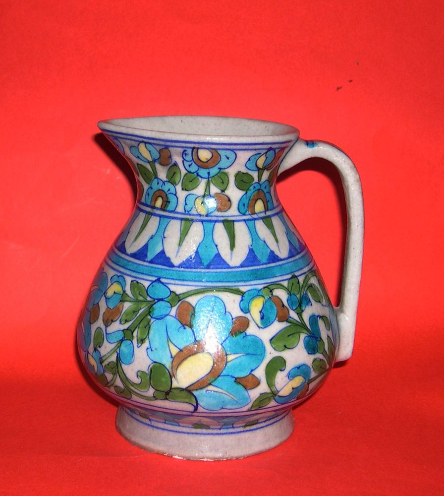 Vintage Jaipur Pottery India Attractive Blue Floral Pattern Water Jug Signed Water Jug Floral Pattern Pottery