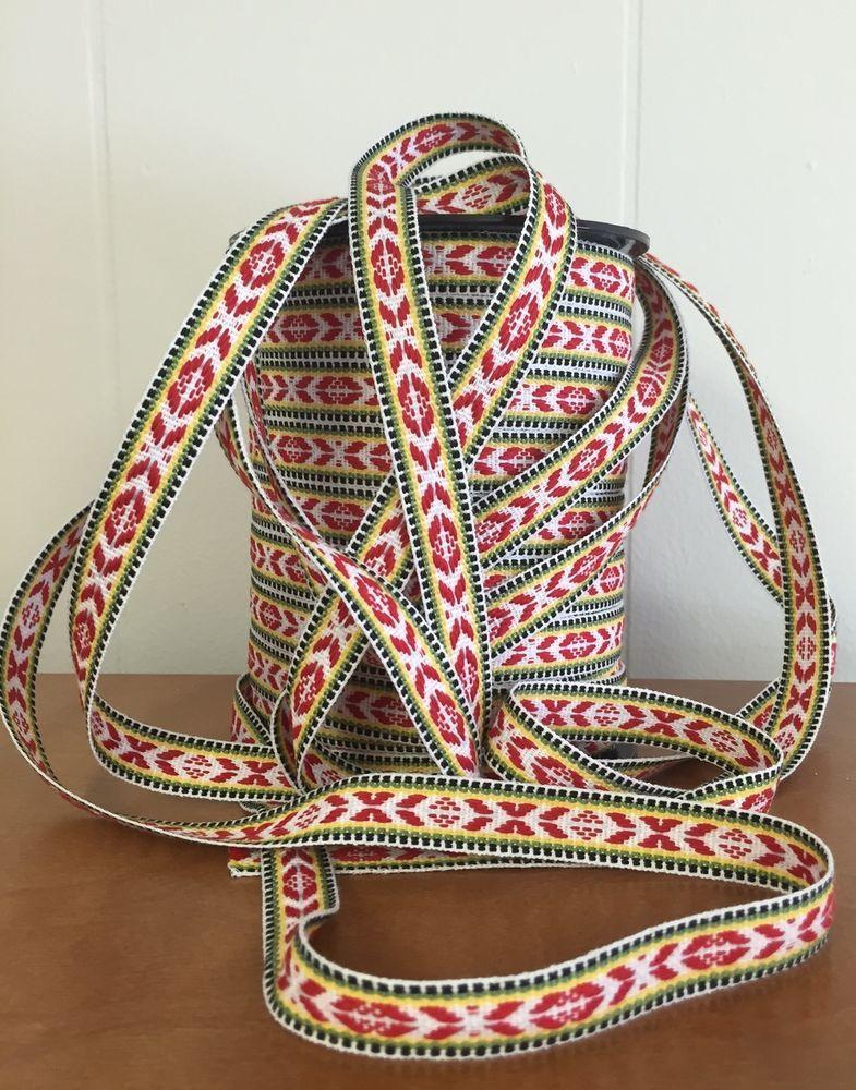 Swedish Hand Woven Ribbon Folk Art Trim Scandinavian Handmade Scandinavian Folk Art Folk Art Hand Weaving