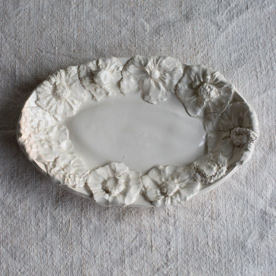 Small Oval Platter Flowers A