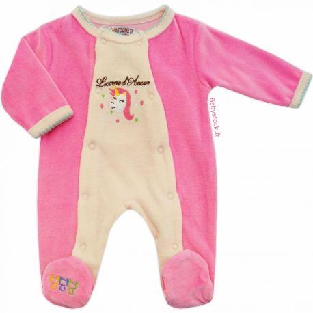 Pyjama bébé fille (0 mois et 1 mois) en velours rose bonbon et nude ... 13b0978b1b9