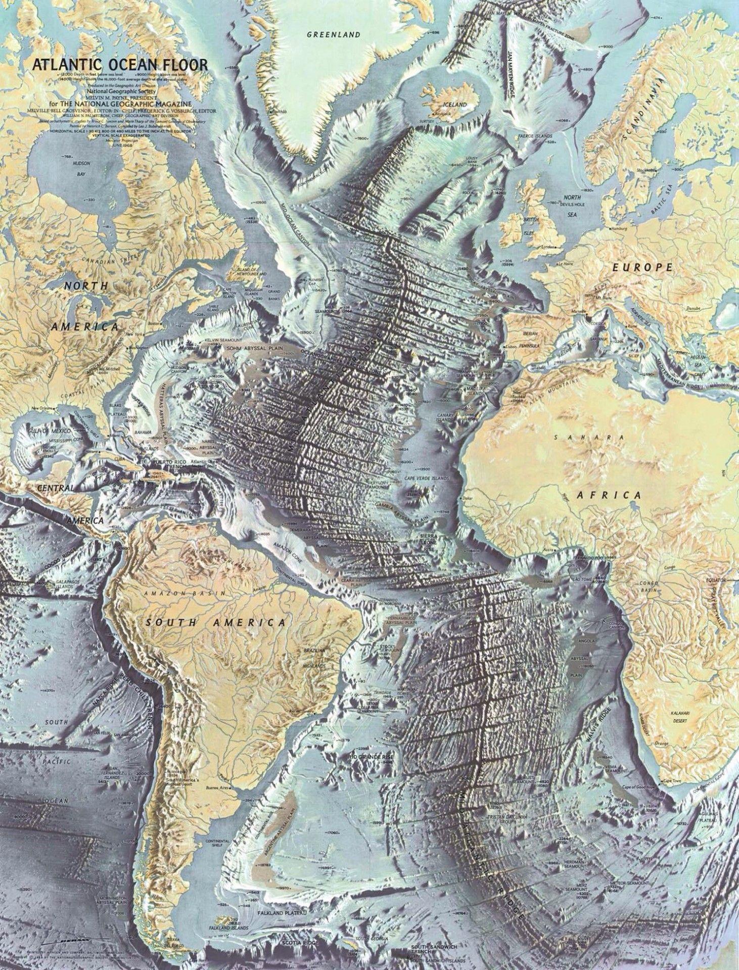 1968 Map Of The Atlantic Ocean Floor.