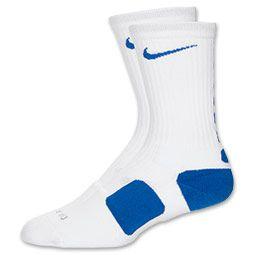 Men S Nike Elite Basketball Crew Socks Medium Finishline Com White Royal Blue Nike Elite Socks Blue Nike Nike Elite