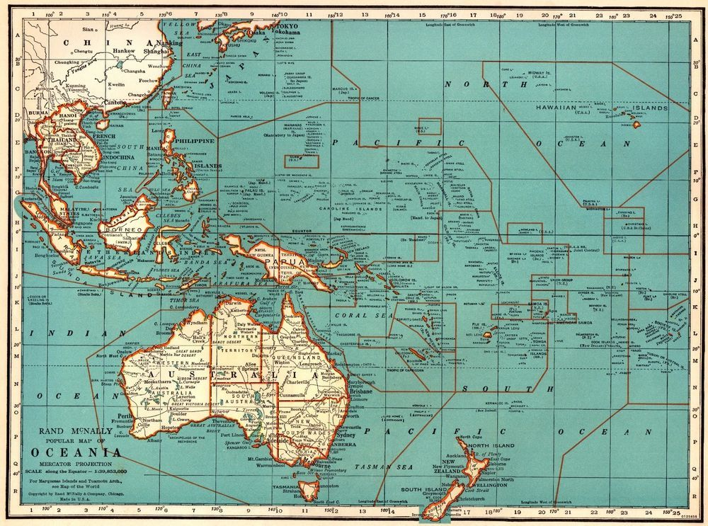 1935 vintage oceania map philippines pacific islands map gallery 1935 vintage oceania map philippines pacific islands map gallery wall art 3643 australia mapvintage mapsworld gumiabroncs Image collections
