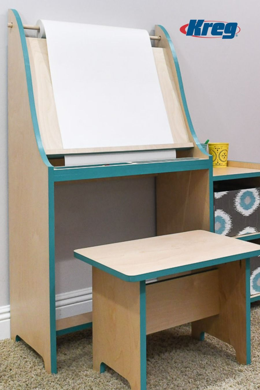 Build This Beautiful Kids Art Table Complete With Easel From Just 1 Sheet Of 3 4 Plywood This Art Table Is Per Kids Art Table Diy Kids Art Table Art Table