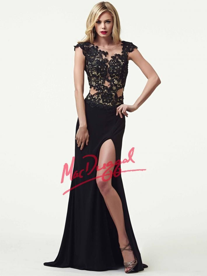 Black Lace Overlay Evening Gown | Mac Duggal 61701R | Black White ...