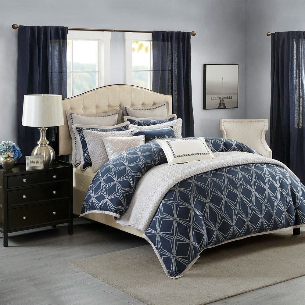Luxury Navy Blue Metallic Silver Jacquard Comforter Set And Decorative Pillows Madisonparksignature Comforter Sets Comforters Bed Linen Inspiration
