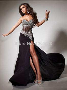 2014 Sexy Sweetheart Strapless Asymmetrical Long Prom Dresses/Evening Dresses Lace Zipper