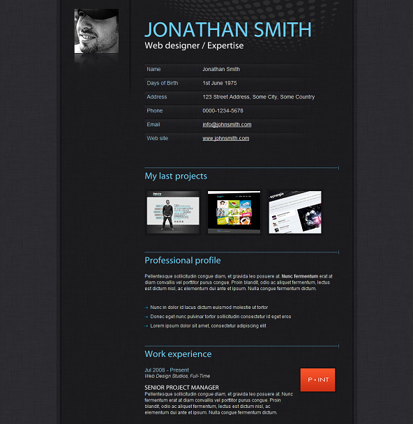 Of The Best Free And Premium Cv And Resume Website Templates