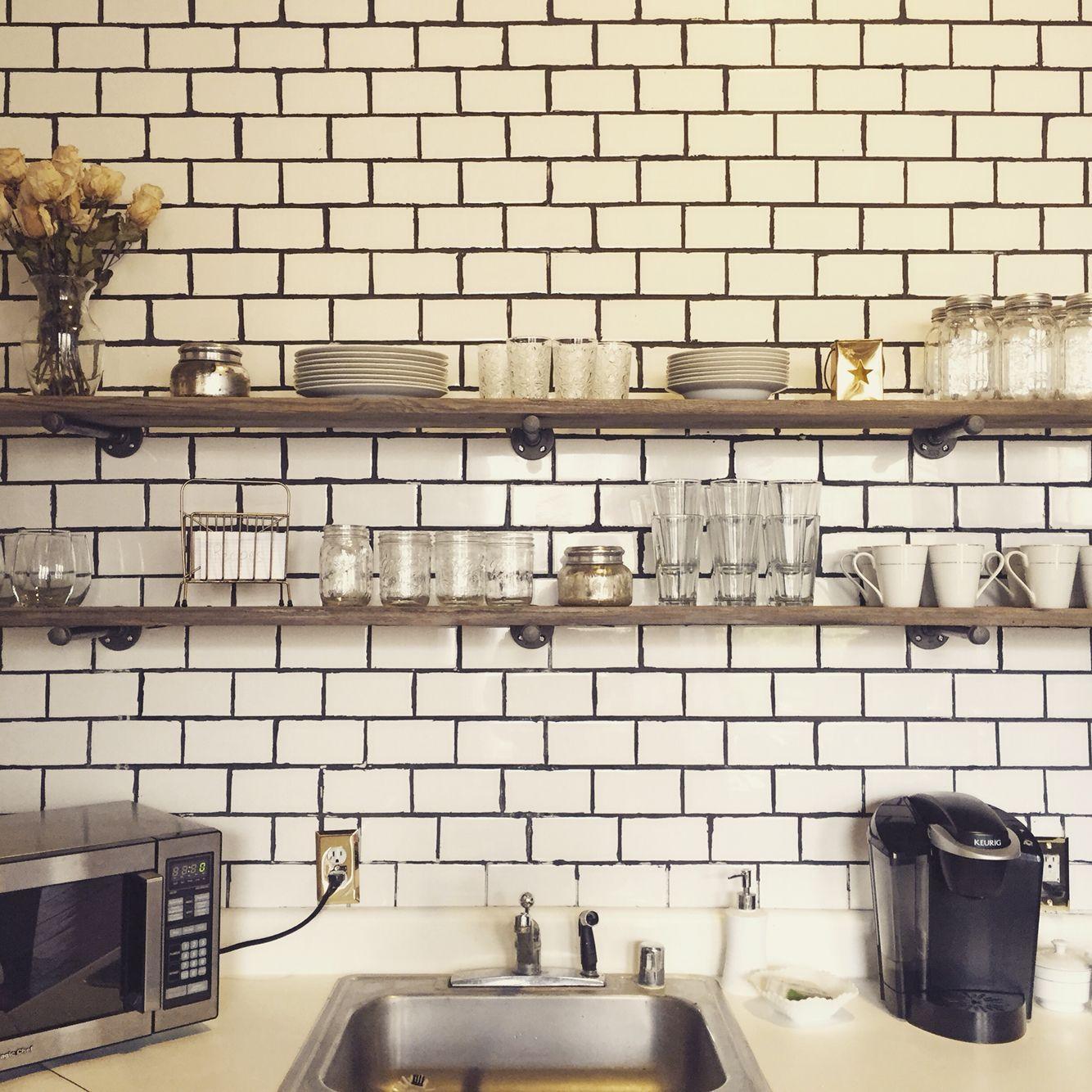 Subway tile reclaimed wood shelves loft ideas pinterest subway tile reclaimed wood shelves dailygadgetfo Images