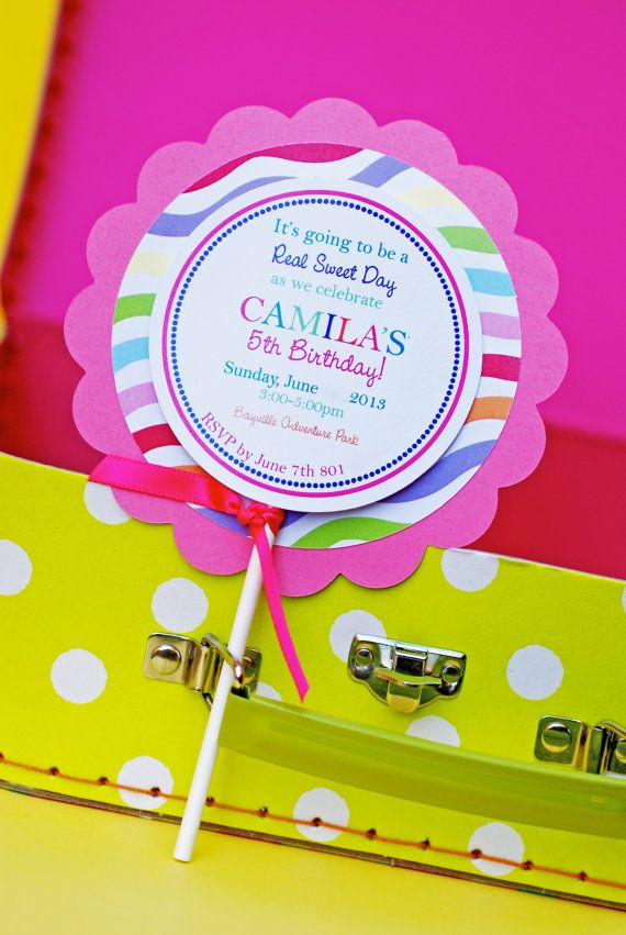 Lollipop Invitation Template | Custom Candy Party Lollipop Invitations Pinterest Custom Candy