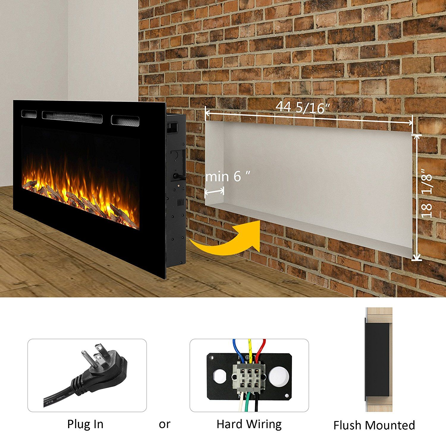 Amazon Com Puraflame Alice 48 Recessed Electric Fireplace Wall