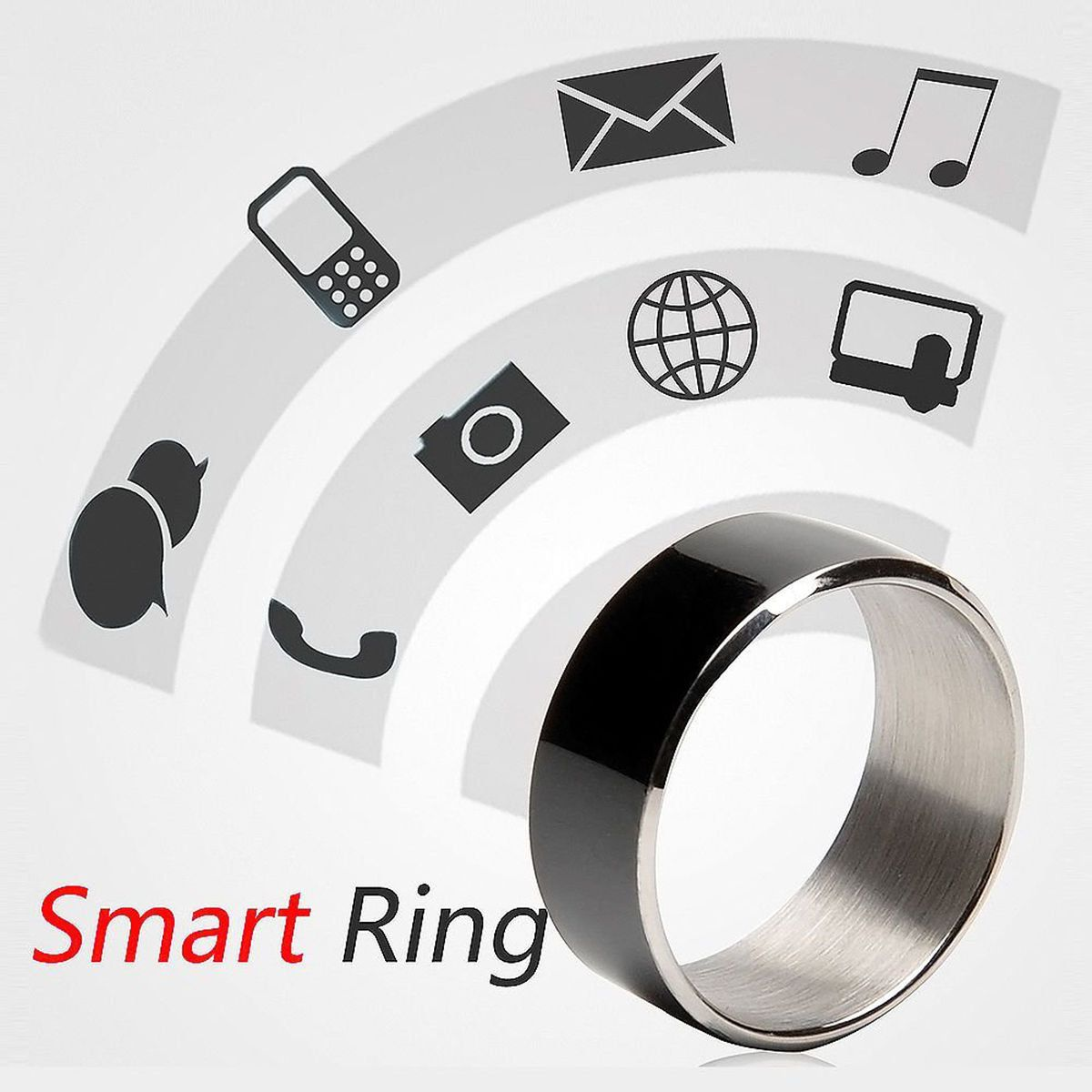 Unisex Trendy Simple Titanium Steel Two Chips Smart Ring For Android Phone With Nfc Function