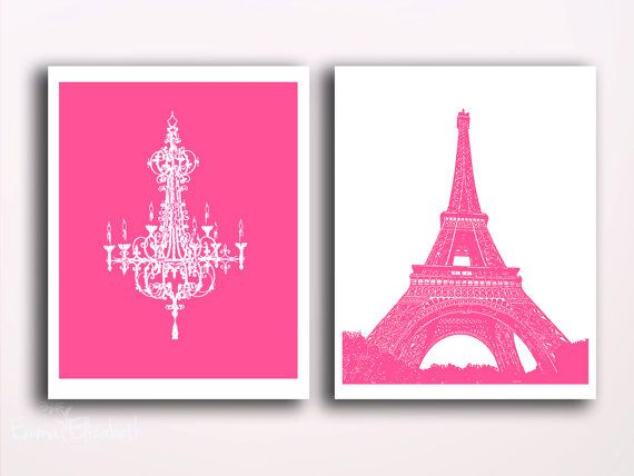 Kids decor Nursery art Pink girls bedroom Paris eiffel tower Hot ...