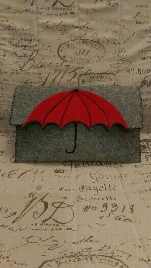 Adorable grey felted clutch purse with red umbrella motif