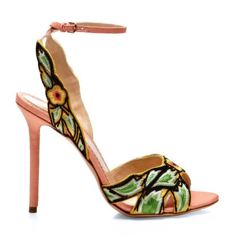 Charlotte Olympia Paradise Embroidered Silk Shantung Sandals