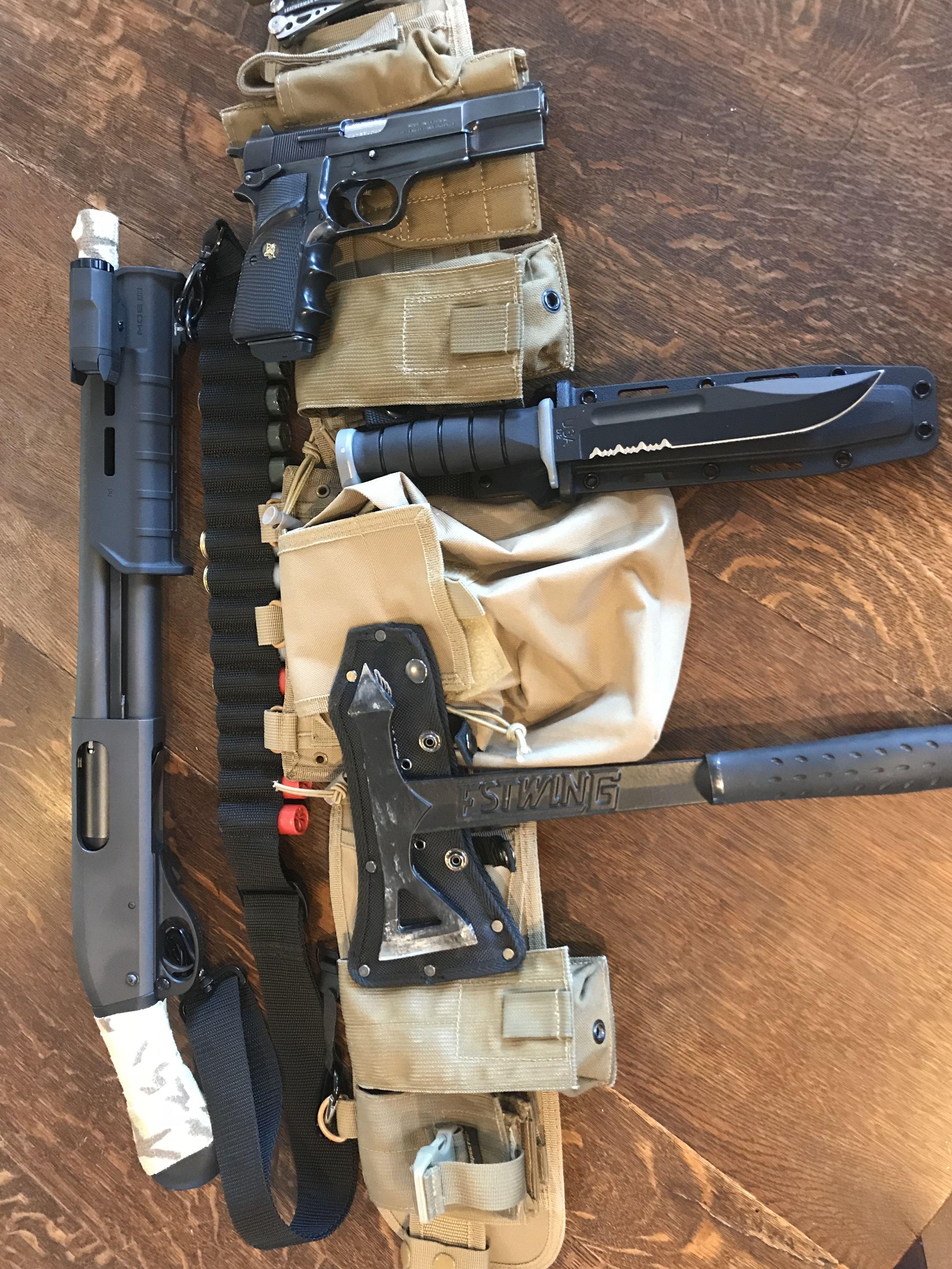 Battle belt / CQB kit Remington Tac-14 Ka-Bar Browning Hi-Power