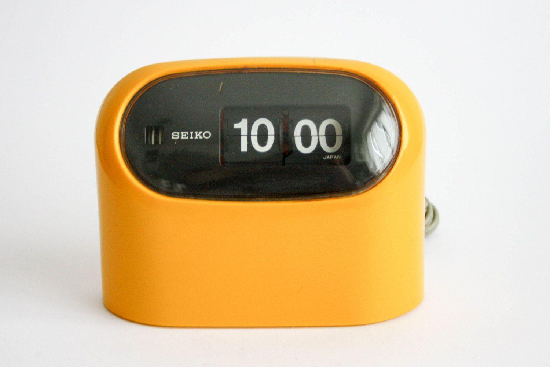 Vintage Seiko Flip Clock - yellow- 1970's () by DoubleRandC