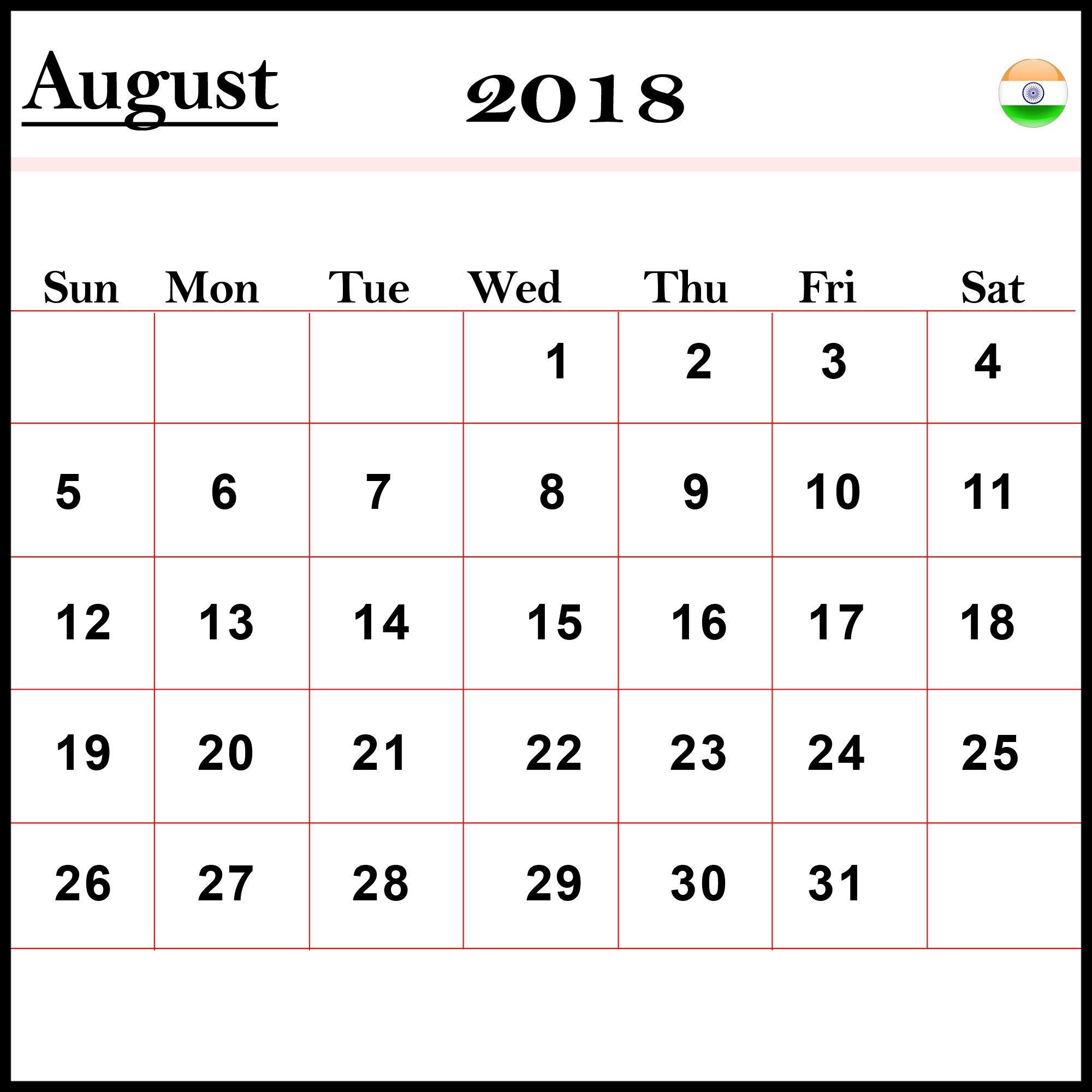 August 2018 Calendar Printable Printable Calendar Template