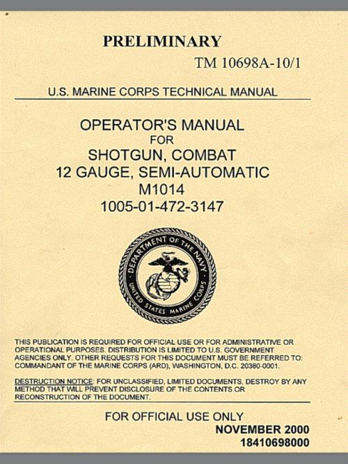 i found the usmc m1014 combat shotgun manual online. Black Bedroom Furniture Sets. Home Design Ideas