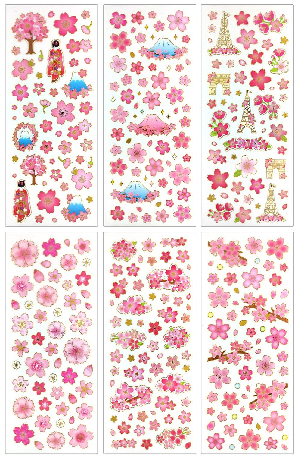 CUTE SAKURA STICKERS Cherry Blossom Paper Sticker Sheet Kawaii Craft Scrapbook
