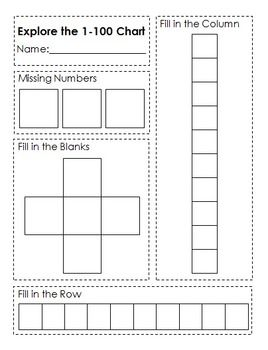 Diy Explore The 1 100 Chart Activity Sheet 100 Chart Homeschool Math Math Number Sense